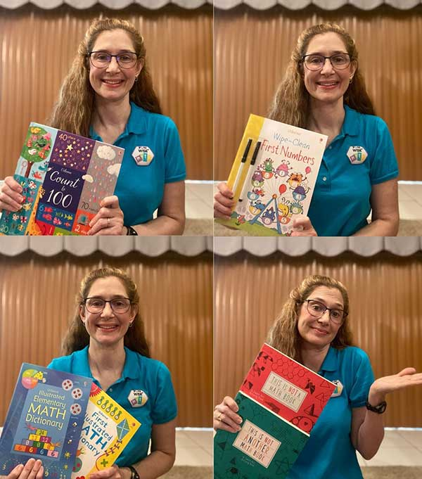 Ms Carrie showing some Usborne books